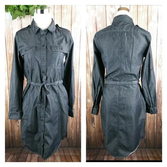 7fc105b13c9 GAP Dresses   Long Sleeve Draw Waist Black Jean Dress Size S   Poshmark